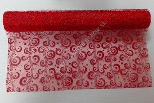 5769b3ee0ace Organza - červená so vzorom